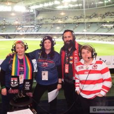 CTF's Bec Dahl & Fiona Newton with Brett Stirling and Sarina Jackson