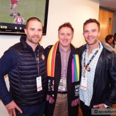 Charles and Lachie Beaton with STKFC CEO Matt Finnis