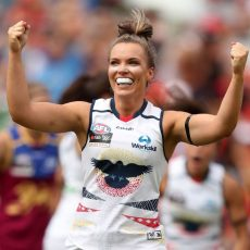 Abbey Holmes celebrates one of the Adelaide Crows' goals during the inaugural AFLW grand final against the Brisbane Lions at Metricon Stadium. Photo: Sean Garnsworthy/AFL Media. Published in the Victor Harbor Times.