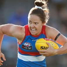 MELBOURNE, AUSTRALIA - FEBRUARY 25: Emma Kearney of the Bulldogs in action during the 2017 AFLW Round 04 match between the Western Bulldogs and Collingwood Magpies at VU Whitten Oval on February 25, 2017 in Melbourne, Australia. (Photo by Adam Trafford/AFL Media)