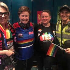 2018 AFL Pride Game Vic Police GLLO Gabby Tyacke and journalist Kate O'Halloran