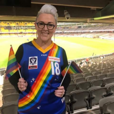 2018 AFL Pride Game Michelle Redfern and Charles Beaton
