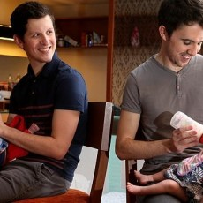 06/02/14 -  Mark (gray shirt) and partner Matt, both 29, are now proud parents of Tate (check shirt) and Estelle, born an hour apart in Bangkok by two Thai surrogate women using eggs donated by the same women fertilised by sperm from each of the two men. Picture Dean Martin