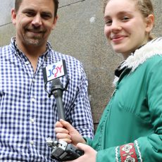 JOY 94.9 Presenter Dean Beck is interviewed by VCA High School student Ava Grimshaw-Hall