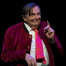NEWCASTLE, AUSTRALIA - MAY 05:  Barry Humphries performs on stage at the Civic Theatre during his first show of the tour of Barry Humphries: The Man Behind the Mask on May 5, 2018 in Newcastle, Australia. The show kicked off tonight and will now spend May and June touring Australian cities and promises to take audiences on a revelatory trip through his colourful life and theatrical career.  (Photo by James D. Morgan/WireImage)