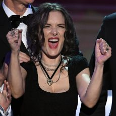 LOS ANGELES, CA - JANUARY 29:  Winona Ryder and David Harbour of 'Stranger Things' accept the Outstanding Performance by an Ensemble in a Drama Series onstage during The 23rd Annual Screen Actors Guild Awards at The Shrine Auditorium on January 29, 2017 in Los Angeles, California. 26592_014  (Photo by Kevin Winter/Getty Images )