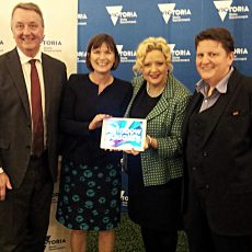 From left: Martin Foley, Minister for both mental Health and Equality, Mary-Anne Thomas Parlimentary Secretary for Health, Jill Hennessy Minister for Health, Rowena Allen Commissioner for Sexuality and Gender