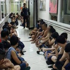 141 men detained in Jakarta for attending a 'gay party'.