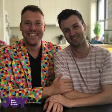 Here come the grooms, the first wedding at the Sydney Gay and Lesbian Mardi Gras Parade