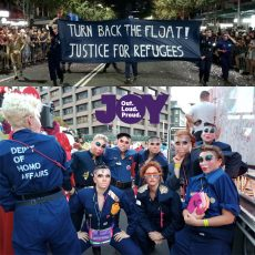 Department of HOMO Affairs disrupts Mardi Gras Parade for Refugees