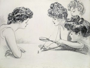 """Gibson Girls Magnifying Glass"" by Charles Dana Gibson"