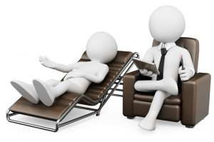 3d white psychologist with a patient. 3d image. Isolated white background.