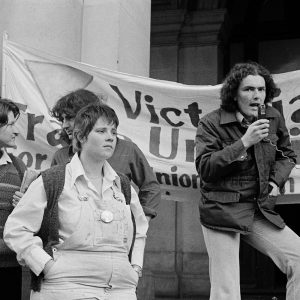 Adam Carr (right) and Alison Thorne (left) at an Homosexual Law Reform Coalition (HLRC) rally, GPO, Melbourne, 1980. Photo by James Spence, Courtesy Australian Lesbian and Gay Archives.