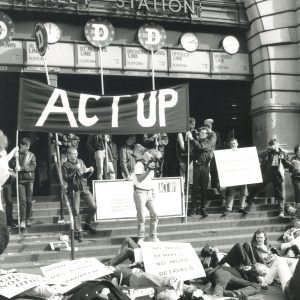 ACT UP's D-Day protest at Flinders Street Station on 6 June 1991. Photo by John Willis.