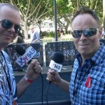 Johno and Leo, mikes at the ready, wait for the ARIA Awards' stars