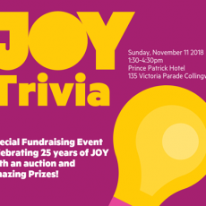 JOY Trivia – online bookings now closed, only a handful of seats available at door!