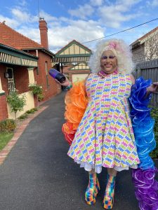 Frock Hudson's drive way drag show to our lucky listener